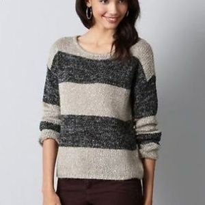 Ann Taylor LOFT Striped Sequin Wool Blend Sweater